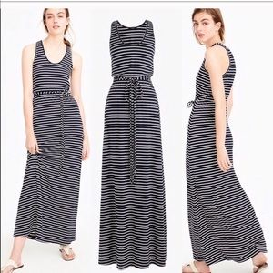 J Crew Striped Maxi Dress with Tie Waist